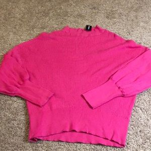 Hot pink ribbed mock neck top